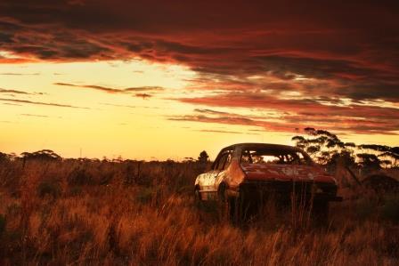 Old car sunset